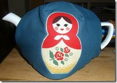 Fitted tea cosy - Russian doll fabric