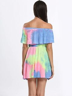 Shop Color Block Off Shoulder Tie Dye A-line Dress from choies.com .Free shipping Worldwide.$11.9