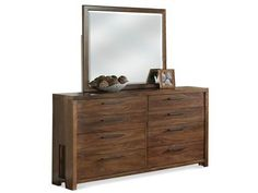 Eight Drawer Dresser: Constructed of Poplar hardwood solid and Walnut veneer. All drawers have dovetail joinery and ballbearing extension guides.