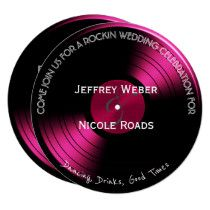 Shop Pink Retro Rock n Roll Vinyl Record Wedding Card created by My_Wedding_Bliss. Rock N Roll, Retro Wedding Invitations, Purple And Silver Wedding, Vinyl Records, Wedding Cards, Pink, Stationery, Text Style, Colorful