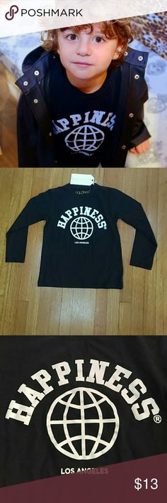 🎉HP🎉 Happiness Long Sleeve unisex Top Brand New with tags! This is a great little top for boys or girls. Black with long sleeves it says 'Happiness Los Angeles'. This brand is really fun and comfortable and super popular with celebrities.  These tops are unisex. 100% cotton Happiness Shirts & Tops