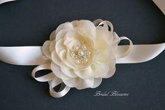 Ivory Chiffon Flower Wrist Corsage  by BridalBlossomsShoppe