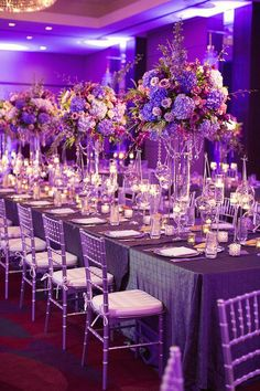 Head table with purple flowers and hanging crystals - Photo by Sarah Kate Photog. - Head table with purple flowers and hanging crystals – Photo by Sarah Kate Photography - <-> Wedding Reception Flowers, Purple Wedding Flowers, Wedding Ceremony Decorations, Wedding Themes, Wedding Centerpieces, Wedding Table, Purple And Gold Wedding, Wedding Receptions, Exotic Flowers
