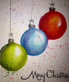 Christmas ornaments water colored and hand drawn. Stampendous greeting. By jennie Lin black