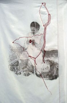 Lotta-Pia Kallio - made me think of embroidering the outline of a location over an image