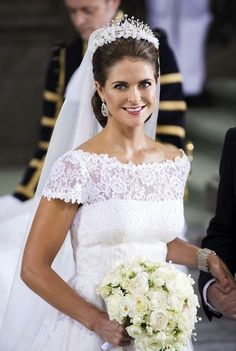Sweden princess Madeleine. love her hair, neck line, handcraft lace.