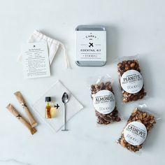 Carry-On Cocktail Kit with Spiced Travel Nuts from Food52.com. Seems like a sensible idea.