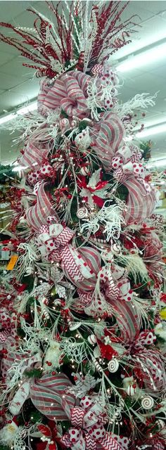 Candy cane themed Christmas Tree in the store