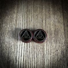 Deathly Hallows ear plugs - 8mm - 20mm harry potter tunnels - natural wood - Ear Stretchers - Wooden ear plugs
