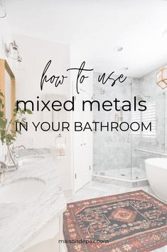 Mixed metal hardware is becoming more popular in interior home decor, and there's no better place to experiment with this design trend than in a bathroom. Plumbing Fixtures, Bathroom Fixtures, Bathroom Hardware, Bling Bathroom, Black And Gold Bathroom, Cheap Bathrooms, Home Decor Paintings, Cricut, Bathroom Inspiration