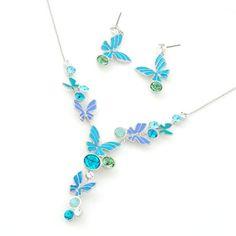 Handmade Blue Enamel Butterfly Wedding Bridal Fashion Jewelry Set Women SKU-10801112