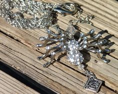 Silver Tone Spider Necklace with Book Charm & Crystals SOLD