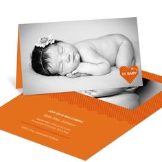 Girl Birth Announcements -- Cross Stitch Introduction in Orange- love the black and white and color