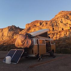 """So we are now in the desert surrounded by troglodyte caves in the North of Spain the largest desert in Europe as a matter of fact so for the first time Henry is going solar  we're using a 200watt folding panel and a #goalzero yeti 1400 portable power generator so here's hoping we can get some heat tonight as the temperature is dropping faster than the sun wish us luck!"" From @oneyear.maybe to @vanlifers . #vanlifers . . #renewableenergy #solar #arguedas #ig_spain  #spain #igers_spain…"