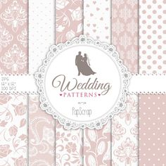 "Wedding digital paper : ""Pink Wedding Patterns "" wedding digital papers for invitations, scrapbooking, cards / lace and damask / pink papers"