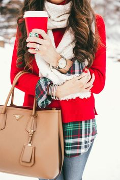 Tartan plaid with a red sweater and red Starbucks cup. Perfect.