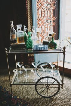 Classic inspired bar cart. | If anyone wants one of these, I have the exact same bar cart that I'll be listing on Etsy in a few days. Hit me up if you want first crack at it.