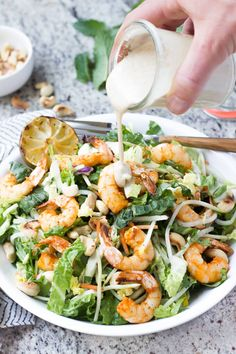 Paleo Thai Shrimp Salad Recipe with Almond Butter Satay Dressing - This healthy salad has TONS of flavor! | wickedspatula.com