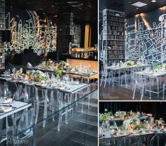 Ghost Chairs/clear chairs modern reception decor at the Thompson Hotel | Olive Photography | www.olivephotography.ca | Toronto & GTA wedding photographer