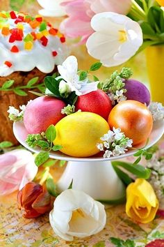 Photo about Easter eggs and cake on festive table. Happy Easter, Easter Bunny, Easter Eggs, Easter Wallpaper, Easter Pictures, Easter Parade, Easter Holidays, Easter Table, Egg Decorating