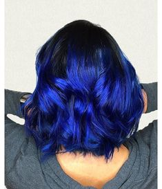 And now, it can be the color of your hair! Blue ombre hair color is what we are talking about. Hair Dye Colors, Ombre Hair Color, Black Blue Ombre Hair, Bright Blue Hair, Royal Blue Hair, Short Blue Hair, Beautiful Hair Color, Cool Hair Color, Electric Blue Hair