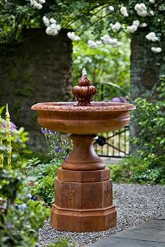 Fontainbleu Outdoor Garden Birdbath Fountain: Fiber Reinforced Cast Stone  Concrete Construction Proudly Made In The United States Water Recirculates  Within ...