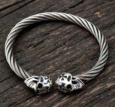 Skull Bangle Bracelet, sterling silver skull cuff