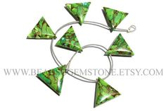 Pre Christmas Sale Green Copper Turquoise Smooth Triangle #prechristmassale #turquoisebeads