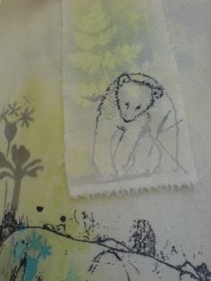 Bear cub. Detail of print and embroidery sample ©Kim Tillyer 2008