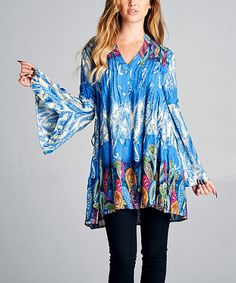 This Blue & White Paisley Bell-Sleeve V-Neck Tunic is perfect! #zulilyfinds