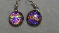 drop earrings puroke sparkle large dichroic fused glass, hypoallergenic 157