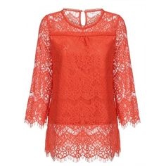 Women Casual Flare Sleeve Solid Loose Crochet Lace Blouse Tops