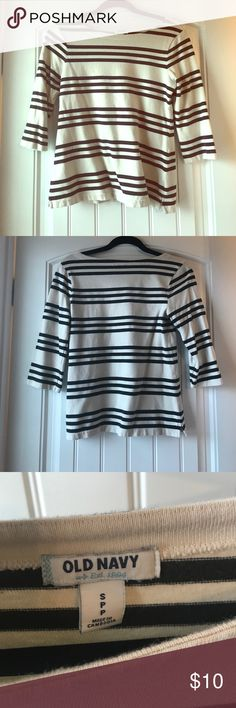 Thick striped top Great for fall! Cream and black striped top. Thicker material. Great condition! Old Navy Tops