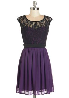 Shortcake Story Dress in Purple - Short, Purple, Black, Lace, Prom, Party, Homecoming, A-line, Cap Sleeves, Variation, Valentine's