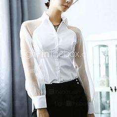 De las mujeres Camisa Cuello Camisero - Malla - Manga Larga - USD   19.99  Blusas ab314a29d6e