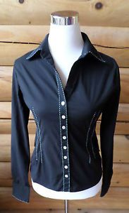 Womens Size M-L BCBG Max Azria Fitted Black Button Down Shirt, Blue Stitching $8.99