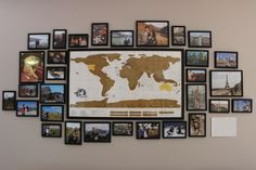 DIY Travel Wall with Scratch Off Map - http://www.whirlofwanderlust.com/2016/05/09/diy-travel-wall/