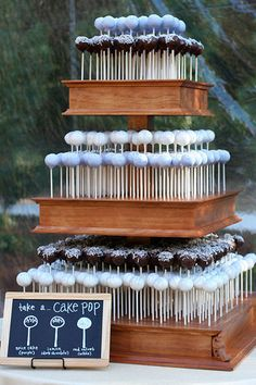 Three tiered cake pop stand is a fun alternative to your traditional wedding cake. Cake pops by Sweet Lauren Cakes. Unusual Wedding Cakes, Elegant Wedding Cakes, Nontraditional Wedding, Cool Wedding Cakes, Unique Weddings, Wedding Favors, Wedding Ideas, Trendy Wedding, Wedding Wishes