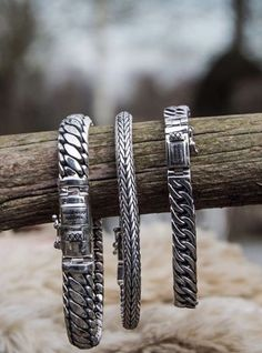 These silver bracelets adorn each wrist and can be worn perfectly with other Buddha to Buddha jewelery.