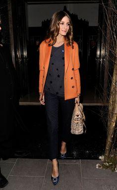 Orange Blazer/Coat, Zebra Print Back, Dark Navy Pants, Grey Jumper, Blue Satin Shoes