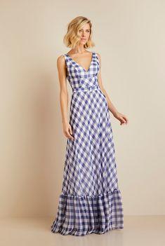 Vestido Longo Xadrez Azul Day Dresses, Nice Dresses, Casual Dresses, Boho Fashion, Fashion Dresses, Elegant Midi Dresses, Beautiful Summer Dresses, Western Wear For Women, Maxi Robes