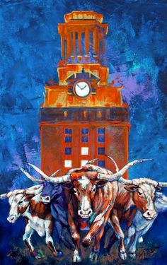 Charging to Victory - UT Tower | Art Print by Robert Hurst ...