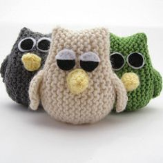 """Little Owls, only 3"""" tall, but full of character. This is a quick and easy project and an addictive knit. It's fun to knit more than one! Luckily these odd birds make great party favors or stocking stuffers. A friend of mine knitted seven of these owls and turned them into a nursery mobile."""