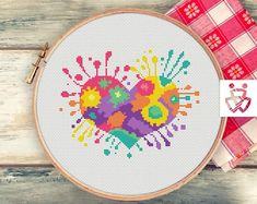 Cross stitch pattern pdf Heart Splash Valentine's gift Modern Easy Colourful paint Pillow Multicolor Hand drawn Funny Schema by Yelka Cross Stitching, Cross Stitch Embroidery, Embroidery Patterns, Cross Stitch Heart, Simple Cross Stitch, Cross Stitch Designs, Cross Stitch Patterns, Easy Cross, Stitch Book