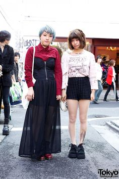 """The burgundy accents, prints and fun hairstyles of these two girls – Rei and """"72″ – caught our attention in Harajuku. Rei is 18 and she's a student. She is wearing a chocolate print jumper with a pair of high waist, houndstooth print shorts from Nadia. Her canvas tote is a resale and her shoes are Dr. Martens, tied with ribbon instead of shoe laces. Her accessories were bought from Bubbles: a cross bracelet, angel wings temporary tattoo on the lower neck, and Virgin Mary tights. Rei does…"""