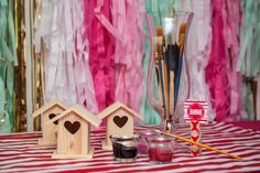 Owl Party craft was painting little owl houses - personalized paint stations.