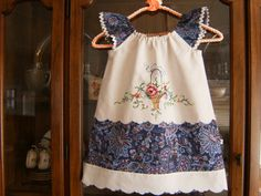 Girl's Peasant Dress, Girl's Dress, Pillowcase Dress Vintage Dress Upcycled Girl's Dress by OldMadeNewBySharon on Etsy Girls Dresses, Summer Dresses, Girls 4, Flutter Sleeve, Clothing Patterns, Blue Denim, Hemline, Vintage Dresses, Upcycle