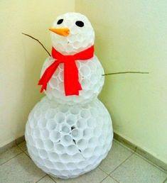 Passo a passo de boneco de neve com copos descartáveis Mais