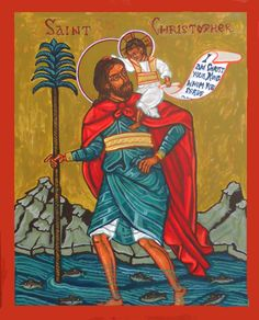 Icon Saint Christopher with Christ Child Acrylic on Innerglow Panel