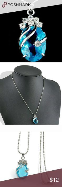 Light Blue Crystal Rhinestone Pendant Necklace Pretty Light Blue Crystal Rhinestone Pendant Necklace. Reasonable Offers Considered. Jewelry Necklaces